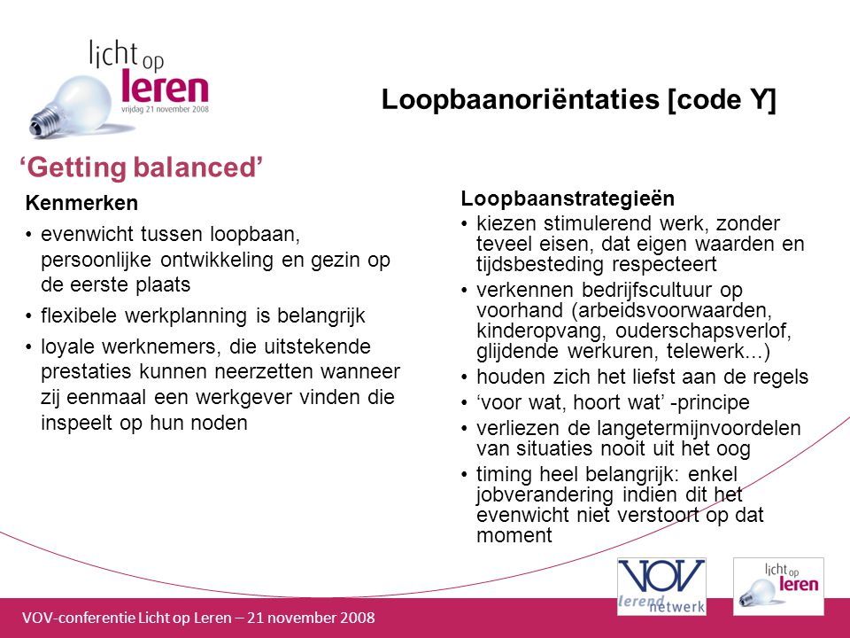 Loopbaanoriëntaties [code Y]